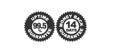99.5% Uptime Guarantee, 14-days Money Back Guarantee